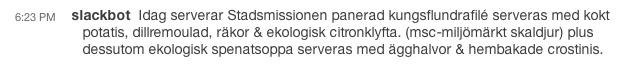 Slackbot responds to /stadsmissionen